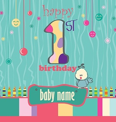 1st birthday greeting card vector