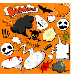 halloween comic speech bubbles vector image