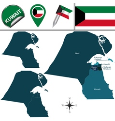 Kuwait map with named divisions vector