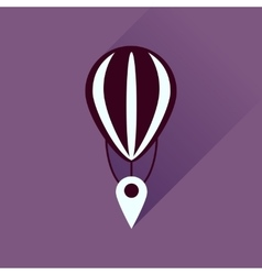 Flat icon with long shadow air balloon point vector