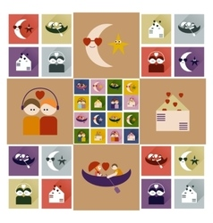 Set of flat icons with long shadow love vector
