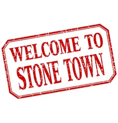 Stone town - welcome red vintage isolated label vector