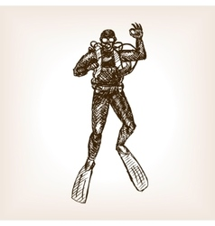 Diver sketch vector image