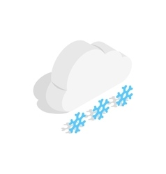 Cloud and snowflakes icon isometric 3d style vector