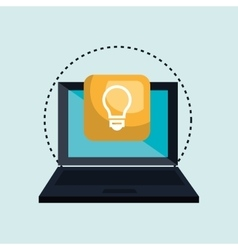 Computer laptop with bulb isolated icon design vector