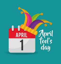 April fools day calendar jester hat poster vector