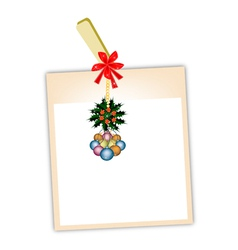 Blank Photos with Christmas Bauble vector image