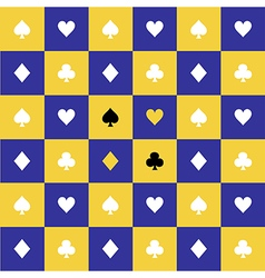 Card suits yellow blue chess board background vector