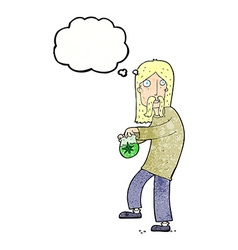 cartoon hippie man with bag of weed with thought vector image