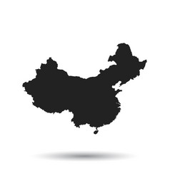China map flat on black background vector