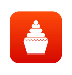cupcake icon digital red vector image