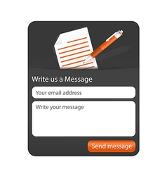 Dark contact form with light paper and orange vector image vector image