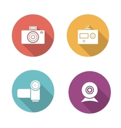 Digital camera flat design icons set vector