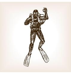 Diver sketch vector image