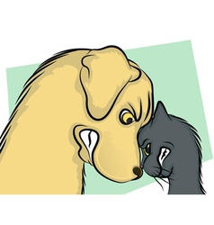 Dog and Cat Nose to Nose vector image