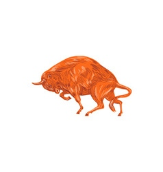 European Bison Charging Drawing vector image vector image