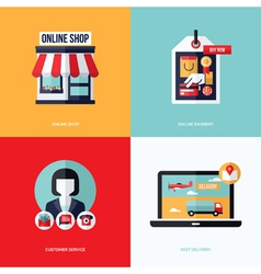 Flat design with e-commerce online shopping icons vector