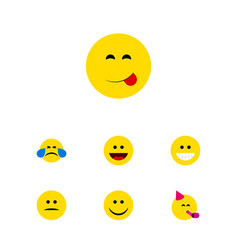Flat icon expression set of joy laugh party time vector