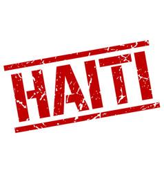 Haiti red square stamp vector