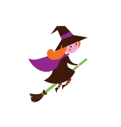 Halloween cute greeting card with witch vector image