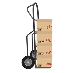 Hand truck with boxes vector image