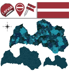 Latvia map with named divisions vector