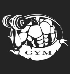 man with dumbbell symbol vector image vector image