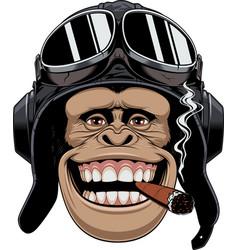 Monkey in helmet pilot vector