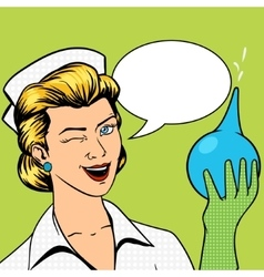 Nurse with enema comic book style vector image
