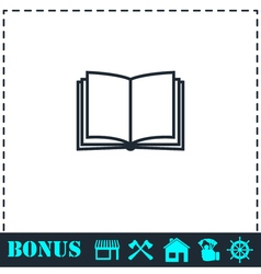 Open book icon flat vector