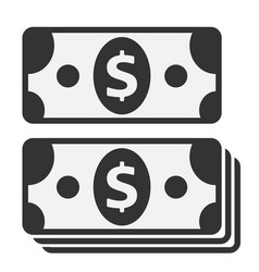Pack of dollars symbol icon on white background vector
