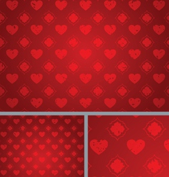Red Vintage Hearts Distressed seamless Background vector image vector image
