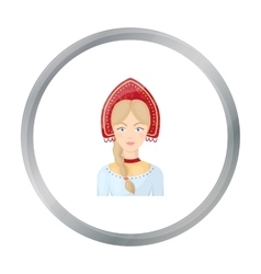 Russian woman in traditional suit icon in cartoon vector image