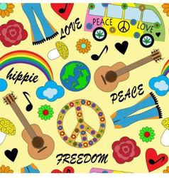 Seamless bright background with accessories hippie vector