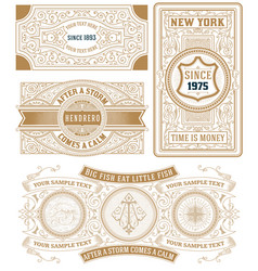 set of 4 vintage cards vector image vector image