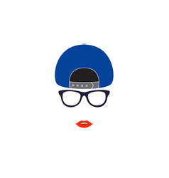 Stylish girl in baseball cap vector