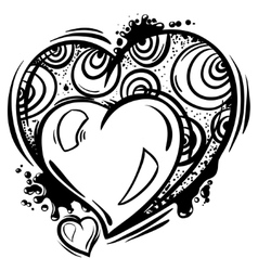 Template with Valentine hearts in line art style vector image