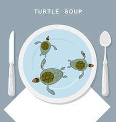 Turtle soup sea turtles swim in plate exotic vector
