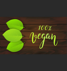 vegan background green leaves on dark wooden vector image vector image
