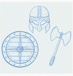 viking warrior set - shield axe and helmet hand vector image vector image