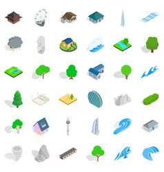 Water element icons set isometric style vector