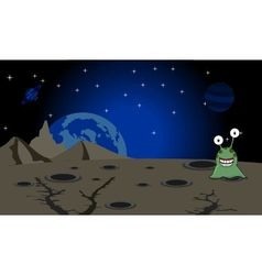 The green alien landing on unknown planet vector