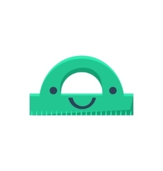 Green protractor primitive icon with smiley face vector