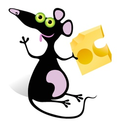 Mouse with piece of cheese vector
