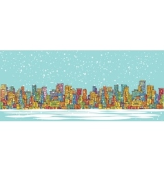 City skyline panorama winter snowing hand drawn vector