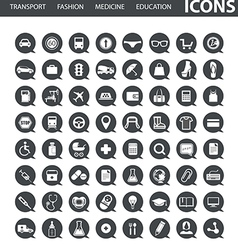 Set of web icons in speech clouds vector