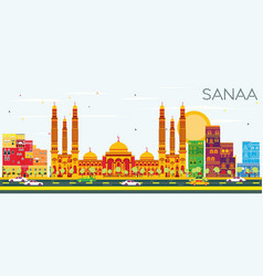 Sanaa yemen skyline with color buildings and vector