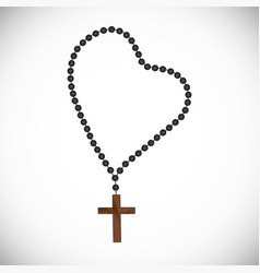 rosary with black pearls with a wooden cross vector image