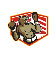 Angry Bear Boxer Boxing Retro vector image