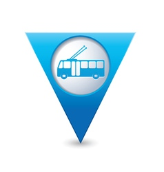 Trolleybus icon map pointer blue vector